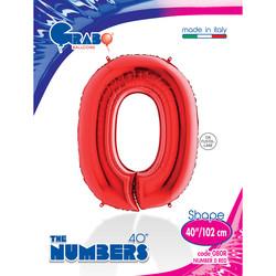 - 0 Rakam Grabo Kırmızı Folyo Balon 102 cm
