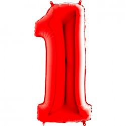 - 1 Rakam Grabo Kırmızı Folyo Balon 102 cm