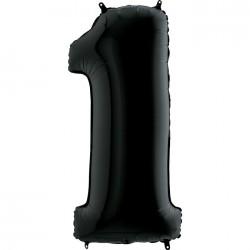 - 1 Rakam Grabo Siyah Folyo Balon 102 cm