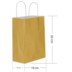 - Altın Kraft Hediye Çantası 15x8x20 cm 25'li