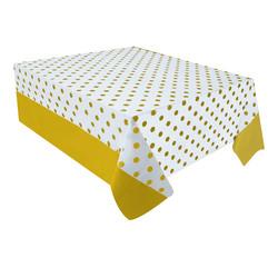 - Altın Puantiyeli Plastik Masa Örtüsü 137x182 cm
