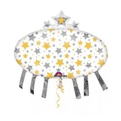 - Yıldız Desenli Uzay Mekiği Şekilli Folyo Balon