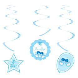 - Kikajoy Babyshower Erkek Spiral Sarkıt Süs 6'lı