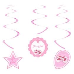 Kikajoy Babyshower Kız Spiral Sarkıt Süs 6'lı - Thumbnail