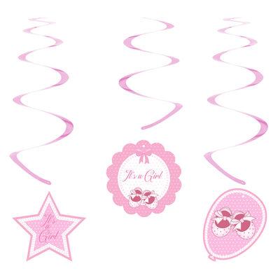 Kikajoy Babyshower Kız Spiral Sarkıt Süs 6'lı