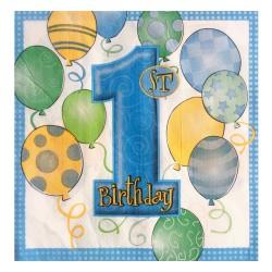 - Balonlar 1 Yaş Mavi Kağıt Peçete 33x33 cm 20'li
