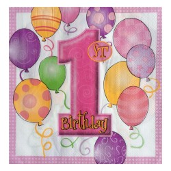 - Balonlar 1 Yaş Pembe Kağıt Peçete 33x33 cm 20'li