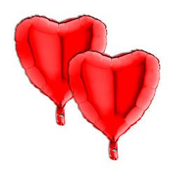 Kikajoy - Kalp Şekilli Folyo Balon Kırmızı Eko Paket 2li 46cm