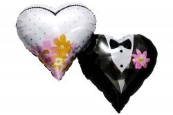 - Gelin & Damat Desenli Kalp Folyo Balon 18
