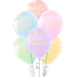 Kikajoy - Çepeçevre Yıldızlı İyi ki Doğdun Baskılı Karışık Renk Makaron Balon 12