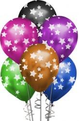Kikajoy - Çepeçevre Yıldızlar Baskılı Karışık Renk Krom Balon 12