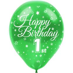 Kikajoy - Kikajoy Happy Birthday Bir Yaş Baskılı Rengarenk Balon 100'lü