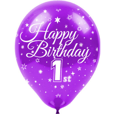 Kikajoy Happy Birthday Bir Yaş Baskılı Rengarenk Balon 100'lü