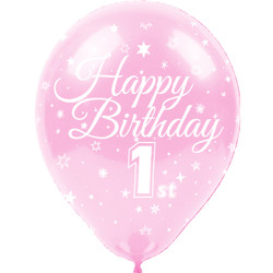 Kikajoy Happy Birthday Bir Yaş Baskılı Rengarenk Balon 100'lü - Thumbnail
