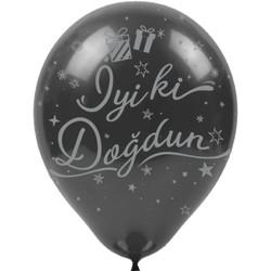 Kikajoy - Kikajoy Gümüş İyi ki Doğdun Baskılı Siyah Balon 100'lü