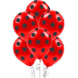- Çepeçevre Siyah Puantiyeli Kırmızı Balon 100'lü