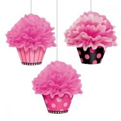 - Üçlü Cupcake Ponpon Süs Seti