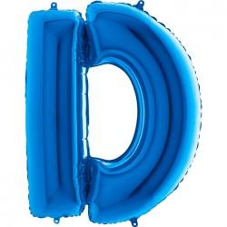 - D Harf Grabo Mavi Folyo Balon 102 cm