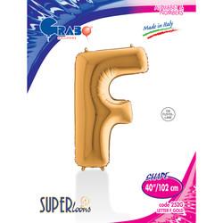 Grabo - F Harf Grabo Altın Folyo Balon 102 cm (40 inch)
