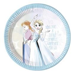 - Frozen Sparkle Karton Tabak 23 cm 8'li