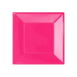 Kikajoy - Fuşya Plastik Kare Tabak 17 cm