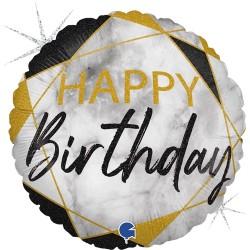 Grabo - Happy Birthday Siyah Grabo Folyo Balon 18