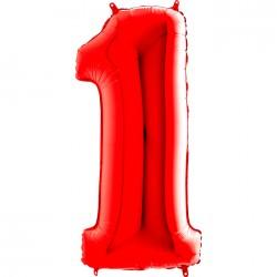 Grabo - 1 Rakam Grabo Kırmızı Folyo Balon 102 cm