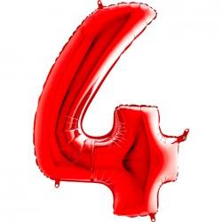 Grabo - 4 Rakam Grabo Kırmızı Folyo Balon 102 cm