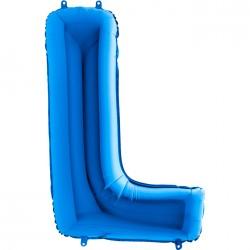 - L Harf Grabo Mavi Folyo Balon 102 cm