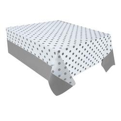- Gümüş Puantiyeli Plastik Masa Örtüsü 137x182 cm