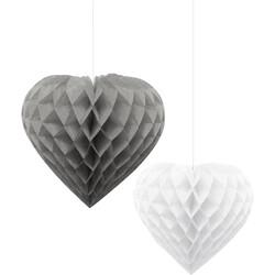 - İkili Kalp Gümüş-Beyaz Petek Süs