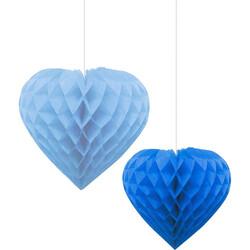 - İkili Kalp Mavi-Lacivert Petek Süs