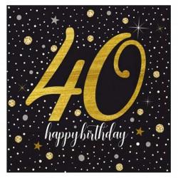 - Işıltılı Doğum Günü Kağıt Peçete 40 Yaş