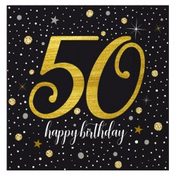 - Işıltılı Doğum Günü Kağıt Peçete 50 Yaş