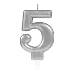 - 5 Rakam Gümüş Işıltılı Mum 7 cm