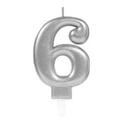 - 6 Rakam Gümüş Işıltılı Mum 7 cm