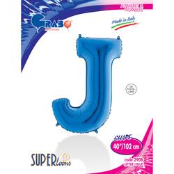 - J Harf Grabo Mavi Folyo Balon 102 cm (40 inch)