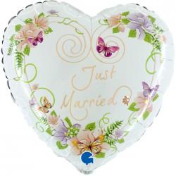 - Just Married Beyaz Kalp Grabo Folyo Balon 53 cm