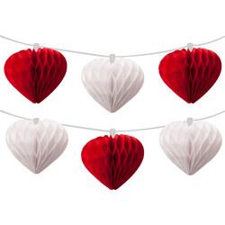 Kikajoy - Kalp Kırmızı-Beyaz Sıralı Petek Süs