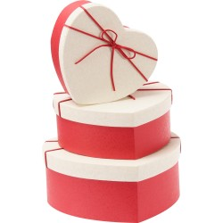 - Hasır Kalp Kutu Seti 3'lü