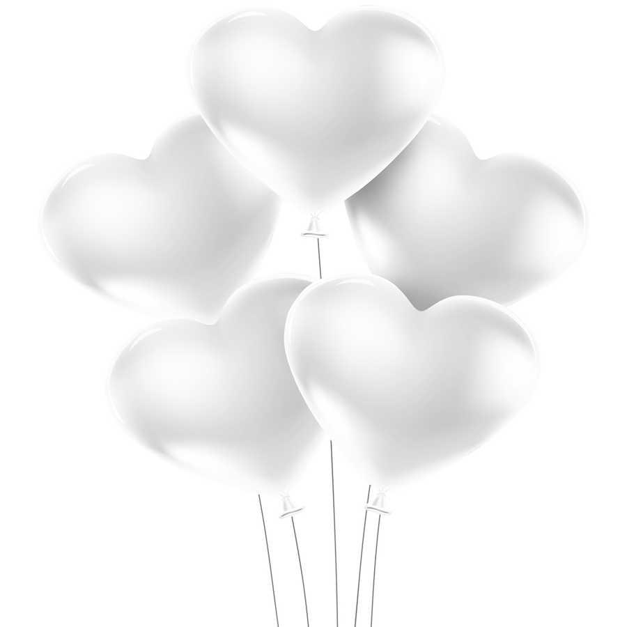Kikajoy Kalp Balon Beyaz 100 Lu Kikajoy Party Store