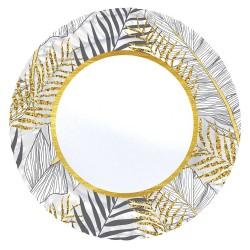 - Altın Simli Yapraklar Beyaz Karton Tabak 23 cm 8'li