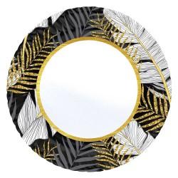 - Altın Simli Yapraklar Siyah Karton Tabak 23 cm 8'li