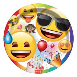 - Emoji Parti Karton Tabak 23 cm 8'li