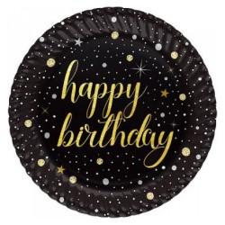 - Işıltılı Doğum Günü Karton Tabak 23 cm 8'li