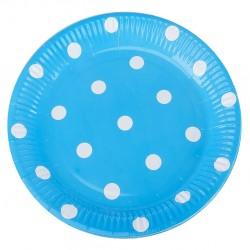 - Karton Tabak Mavi Puantiye 8'li