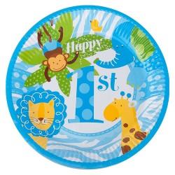 - Neşeli Hayvanlar Mavi Karton Tabak 23 cm 8'li