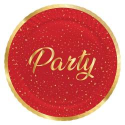 - Parti Zamanı Kırmızı Karton Tabak 23 cm 8'li
