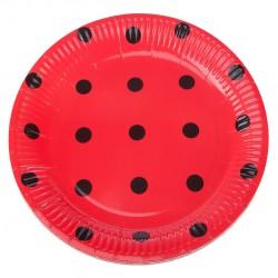 - Karton Tabak Siyah Puantiyeli Kırmızı 8'li