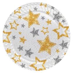 Kikajoy - Simli Yıldızlar Beyaz Karton Tabak 23cm